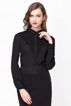 Черная блузка с длинными рукавами Vilatte со скидкой